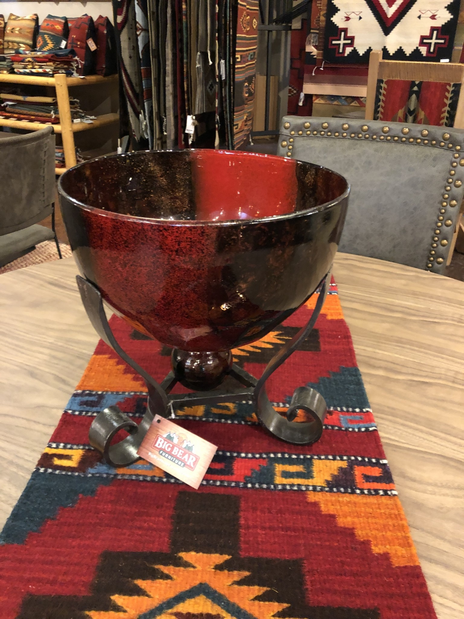 Artisans Red Glass Bowl and Iron Base