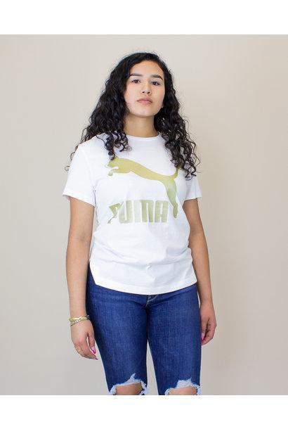 Puma Classics Logo S/S T-Shirt - White/ Gold