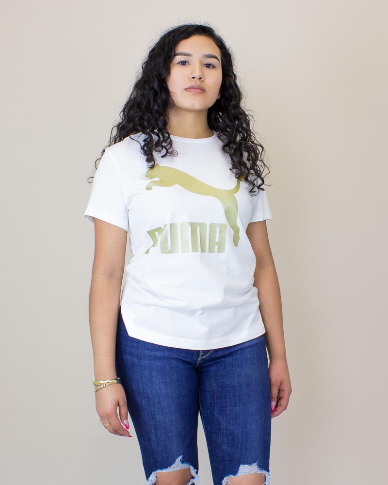 Puma Classics Logo S/S T-Shirt - White/ Gold-1