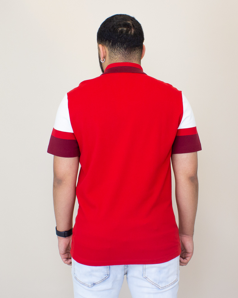 Lacoste Slim Pima Polo Shirt - Red/ White-2