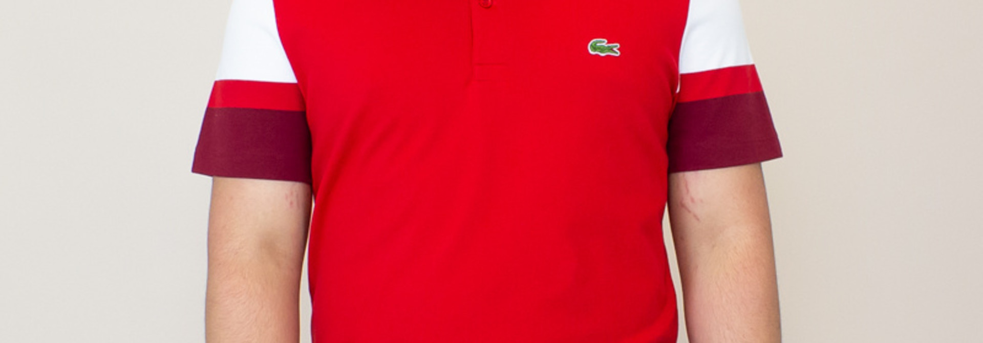 Lacoste Slim Pima Polo Shirt - Red/ White