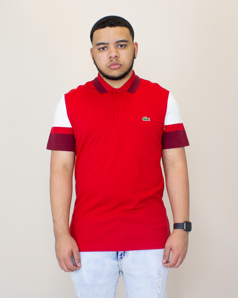 Lacoste Slim Pima Polo Shirt - Red/ White-1