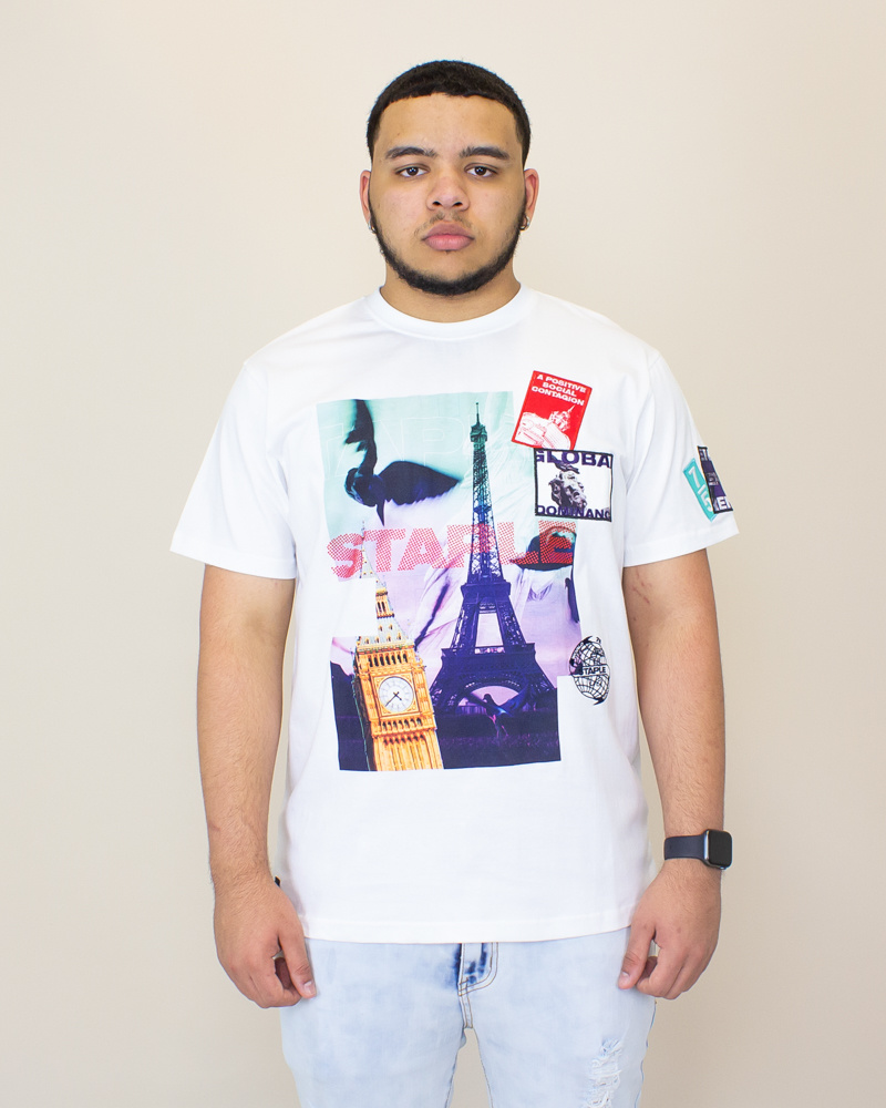 Staple Wrld Collage Photo Tee - White-1