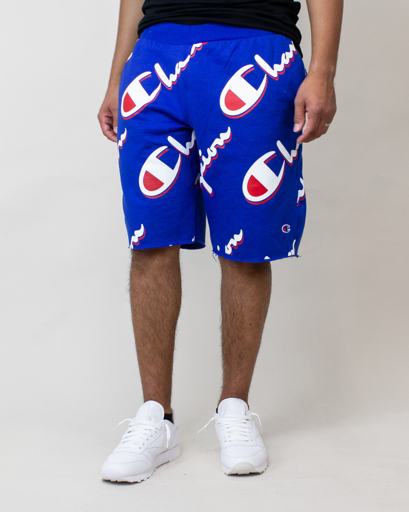 Champion Cut-Off Shorts All Over Logo - Blue-2