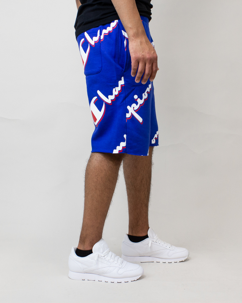 Champion Cut-Off Shorts All Over Logo - Blue-3