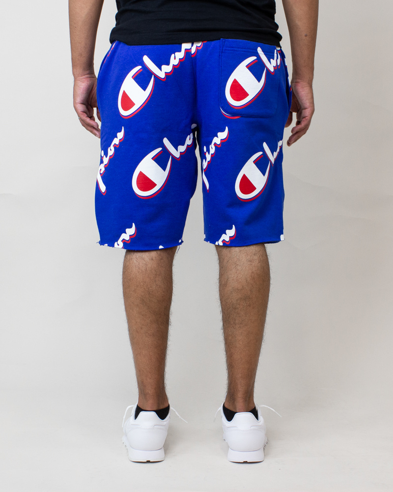 Champion Cut-Off Shorts All Over Logo - Blue-4