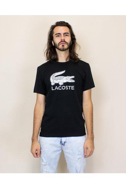 Lacoste 3D Print Crocodile Jersey T-shirt - Black