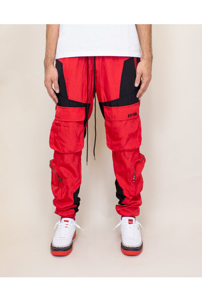 EPTM Color Block Nylon Pants - Red/Black