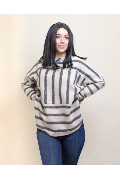 Ces Femme Striped Top - Charcoal