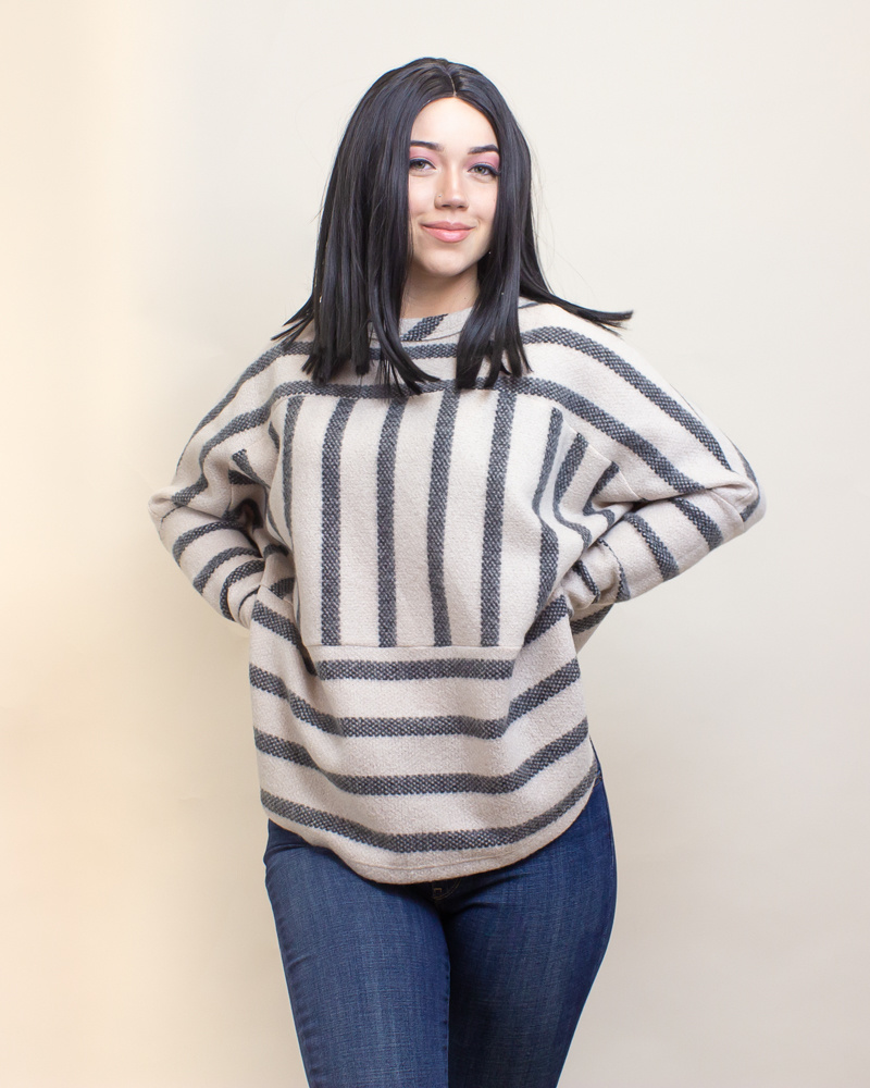 Ces Femme Striped Top - Charcoal-1
