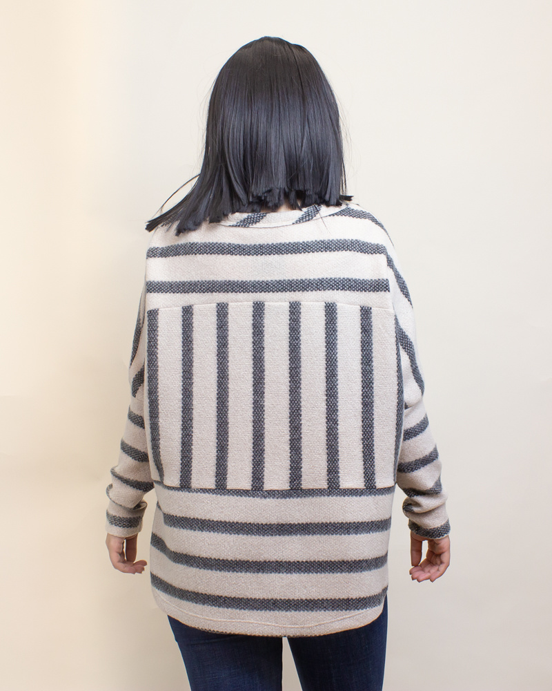 Ces Femme Striped Top - Charcoal-2