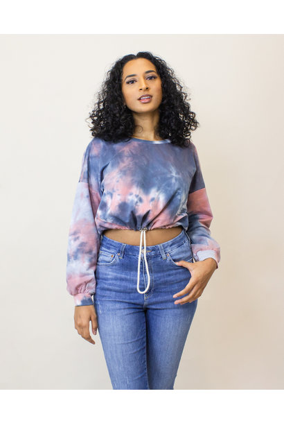 Hyfve Tie Dye Crop Sweatshirt - Navy/Multi
