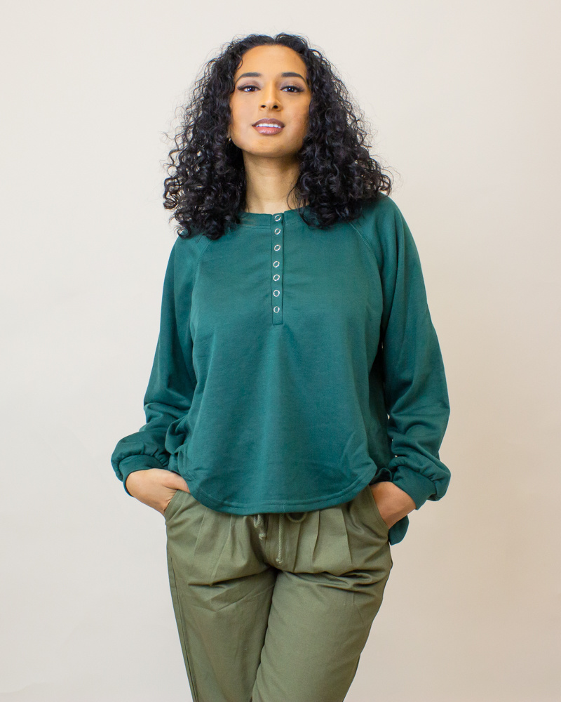 Hyfve Oversized L/S Shirt - Hunter Green-1
