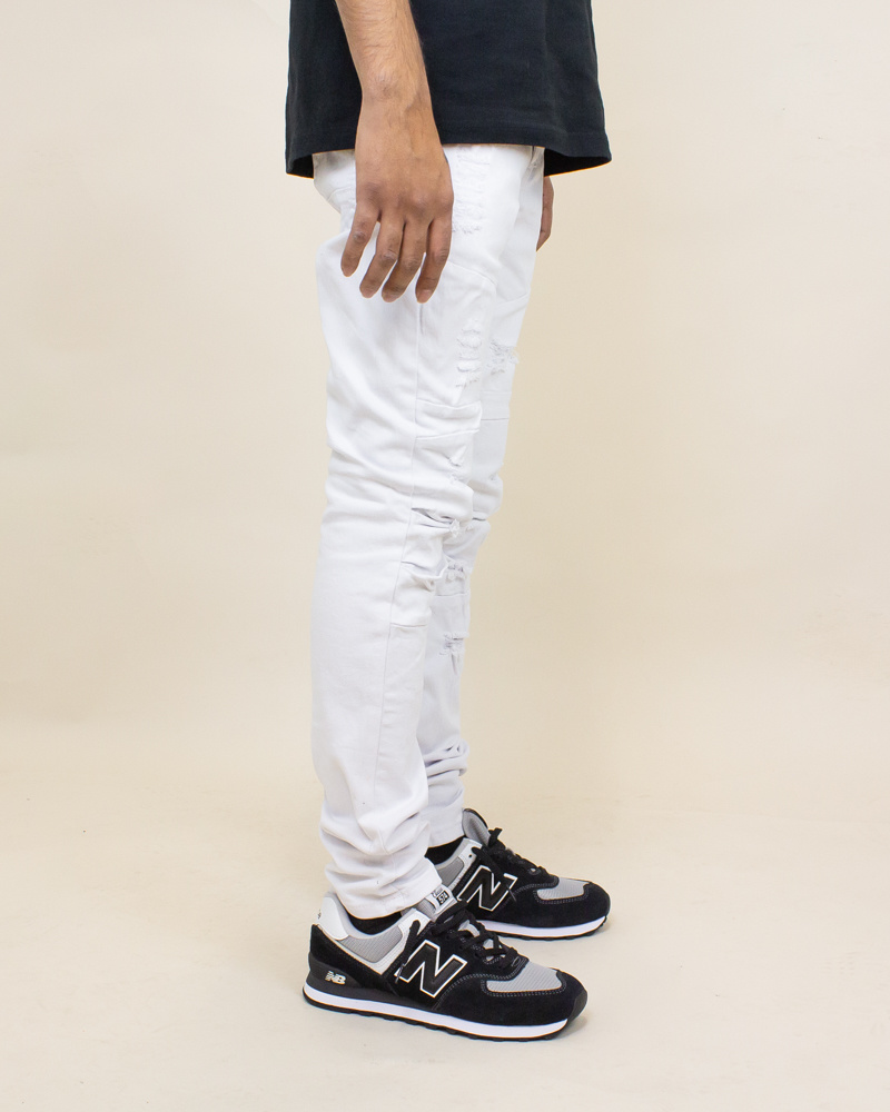 Blind Trust Skinny Twill Pants - White-2