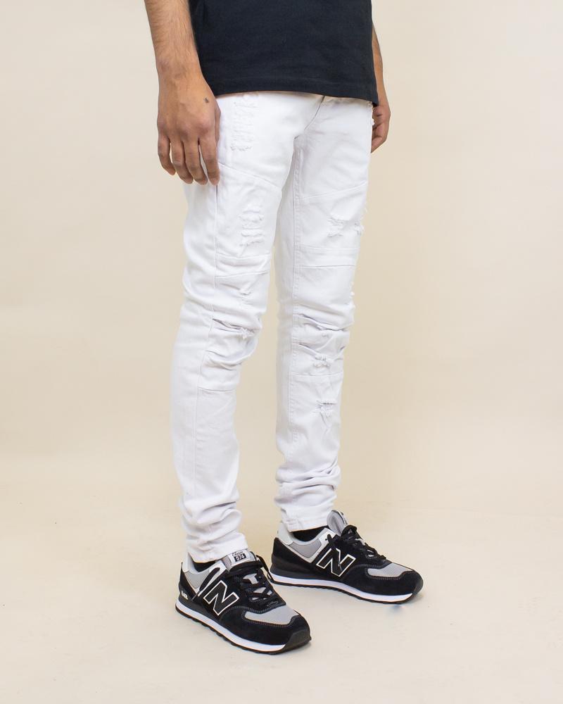Blind Trust Skinny Twill Pants - White-3