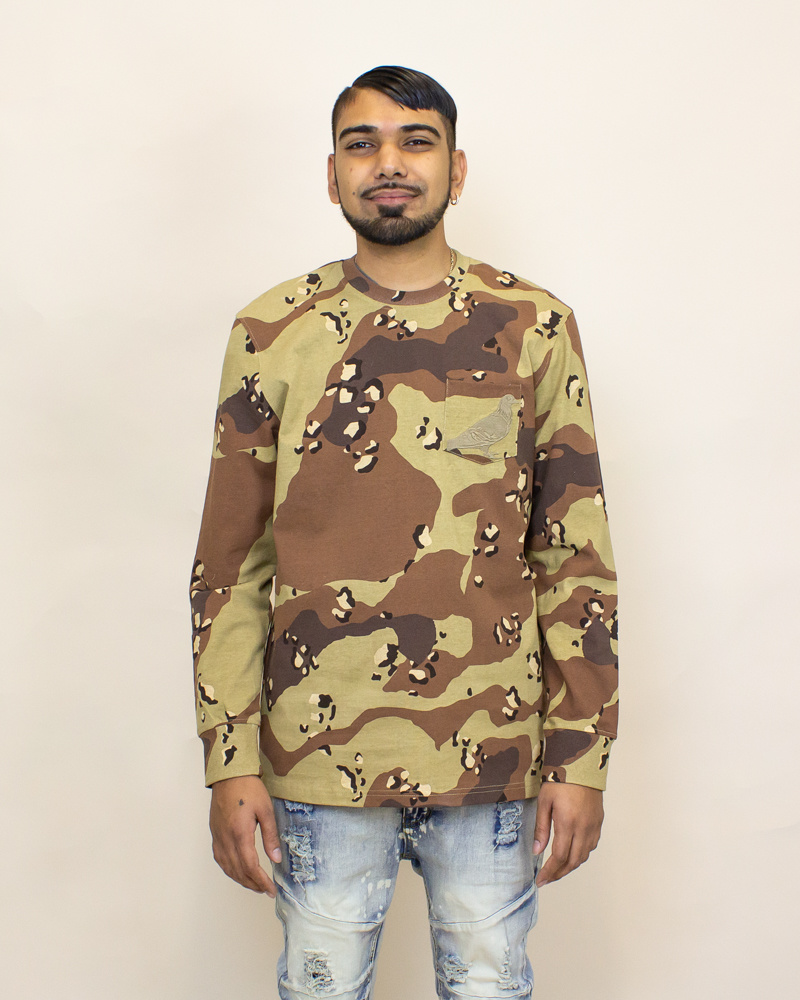 Staple Pigeon Garment Wash L/S Pocket Tee - Camo-1