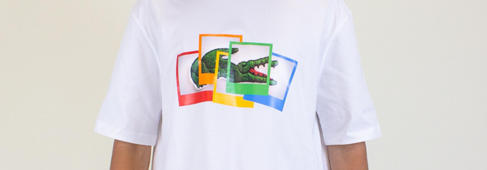 Lacoste X Live Polaroid Loose Fit Cotton T-Shirt - White