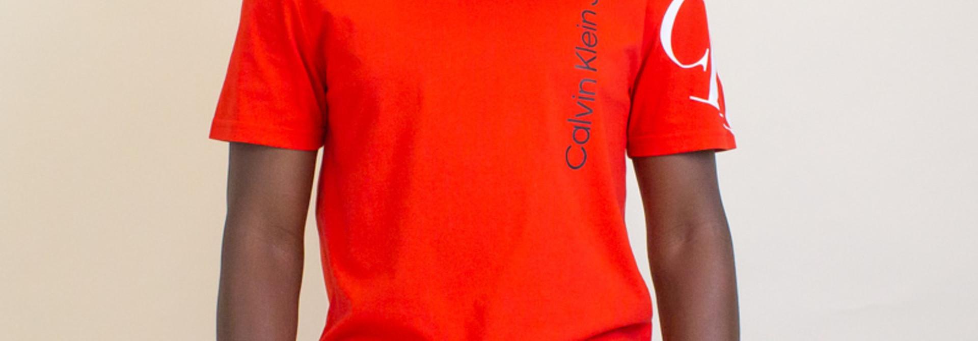 Calvin Klein Tilt Monogram Logo Crew Tee - Red