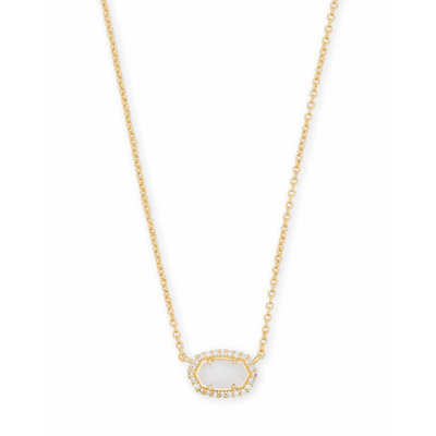 Kendra Scott Chelsea Gold Pendant Necklace In White Pearl