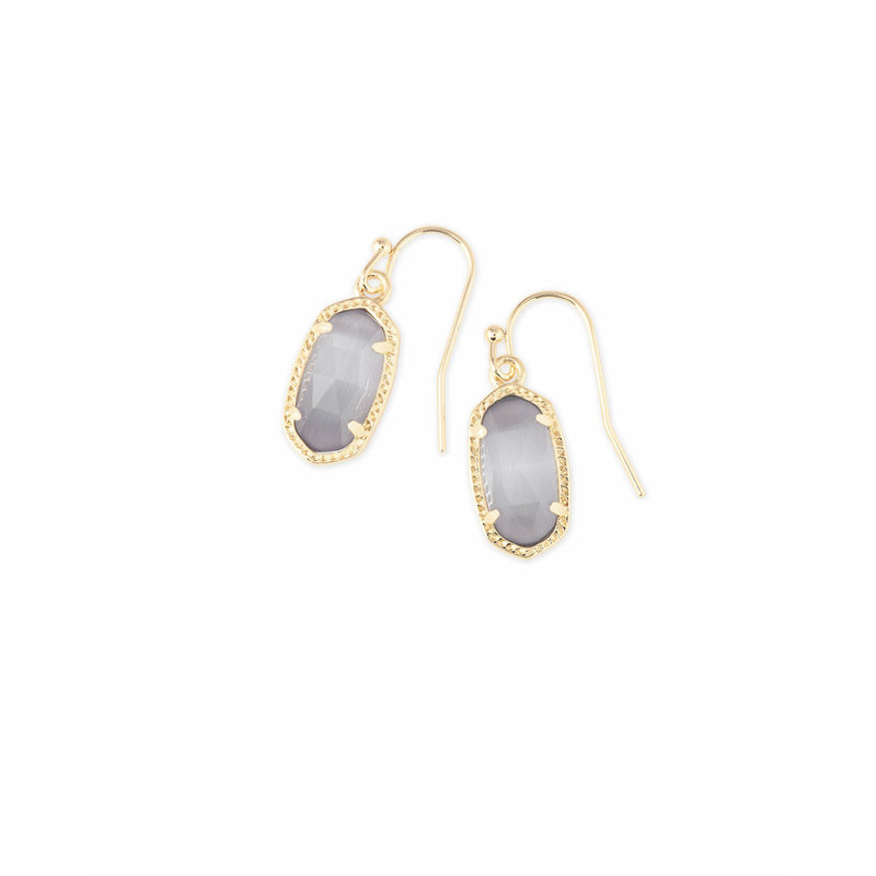 Kendra Scott Lee Gold Drop Earrings In Slate Cats Eye