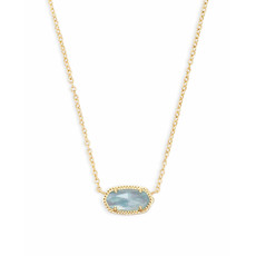 Kendra Scott Elisa Gold Pendant Necklace In Light Blue Illusion