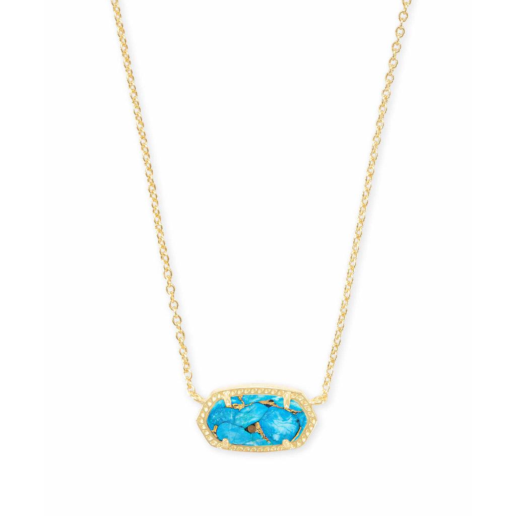 Kendra Scott Elisa Gold Pendant Necklace In Bronze Veined Turquoise Magnesite