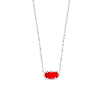 Kendra Scott Elisa Silver Pendant Necklace In Bright Red