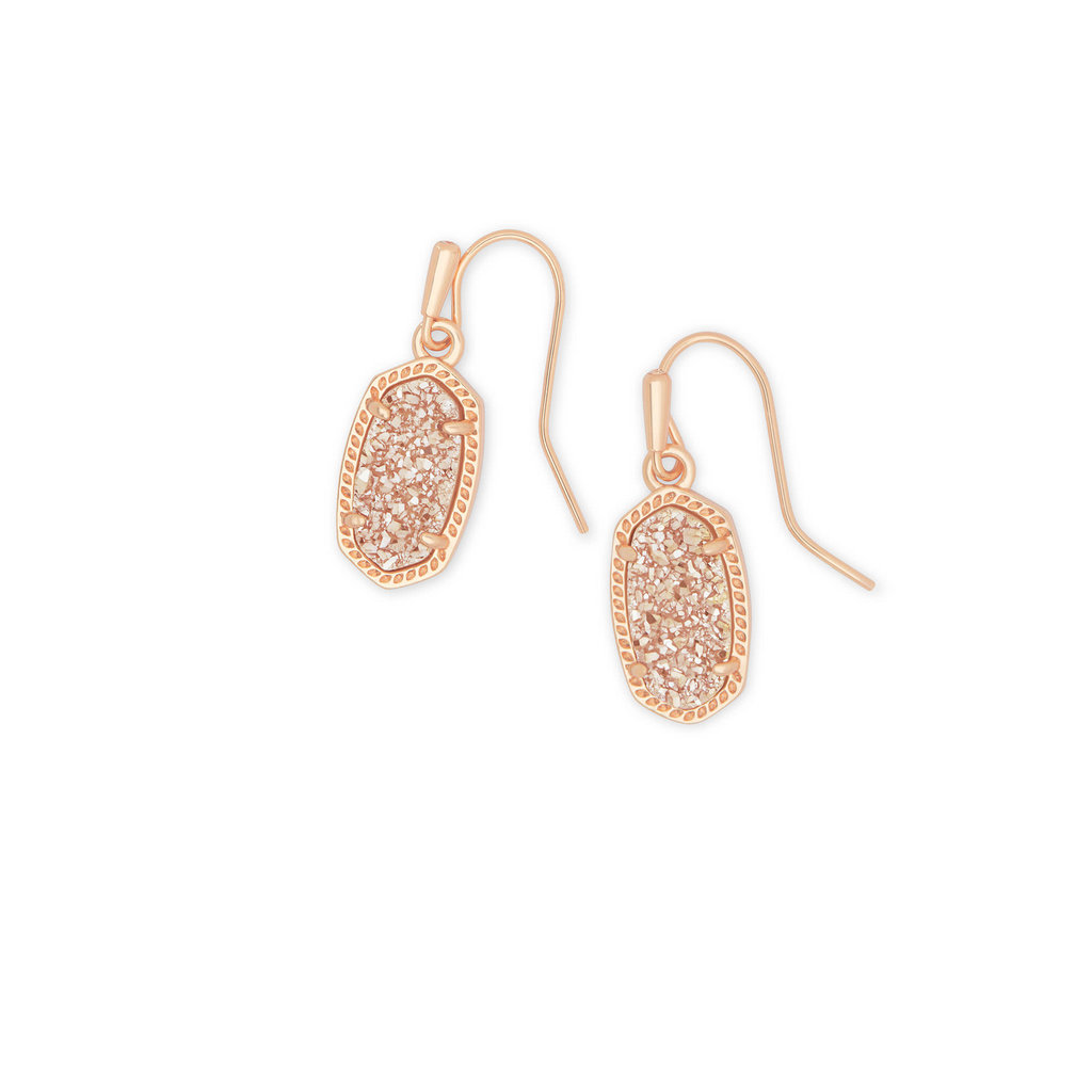 Kendra Scott Lee Rose Gold Drop Earrings In Sand Drusy