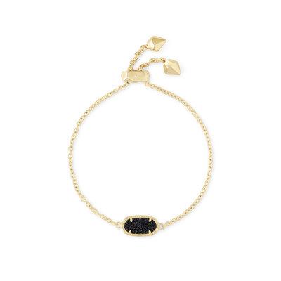 Kendra Scott Elaina Gold Adjustable Chain Bracelet In Black Drusy