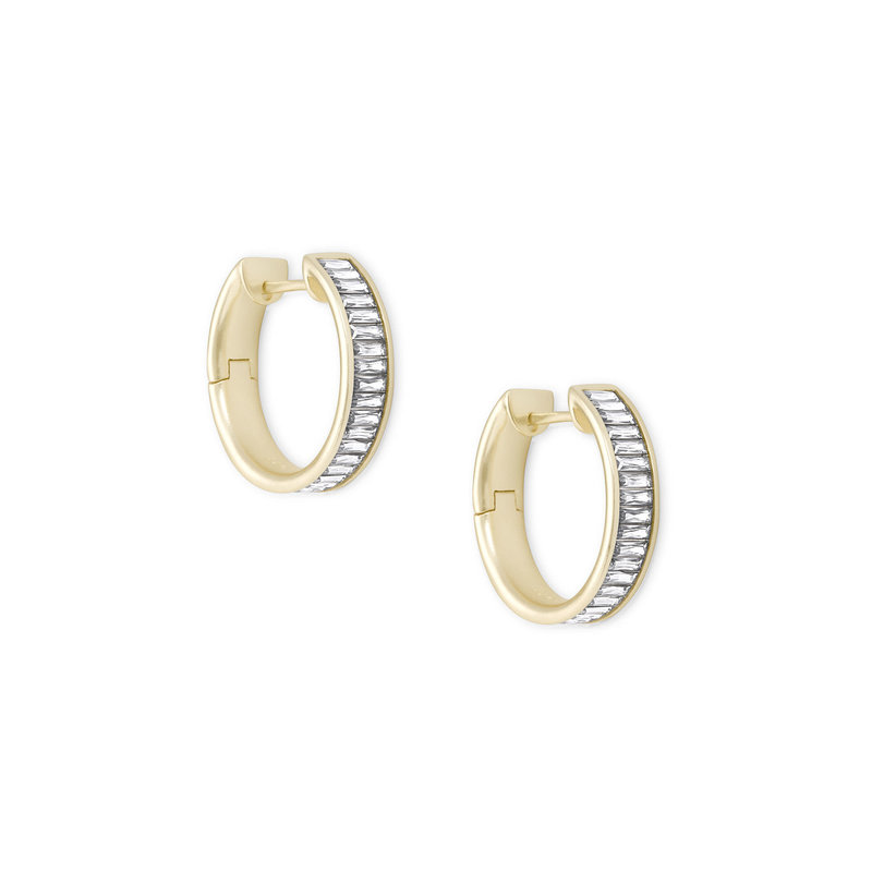 Kendra Scott Jack Gold Hoop Earrings In White Crystal