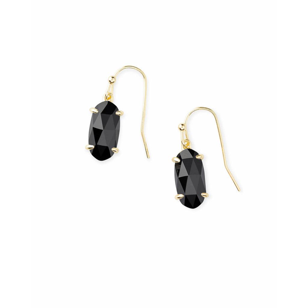 Kendra Scott Lemmi Gold Drop Earrings In Black Glass
