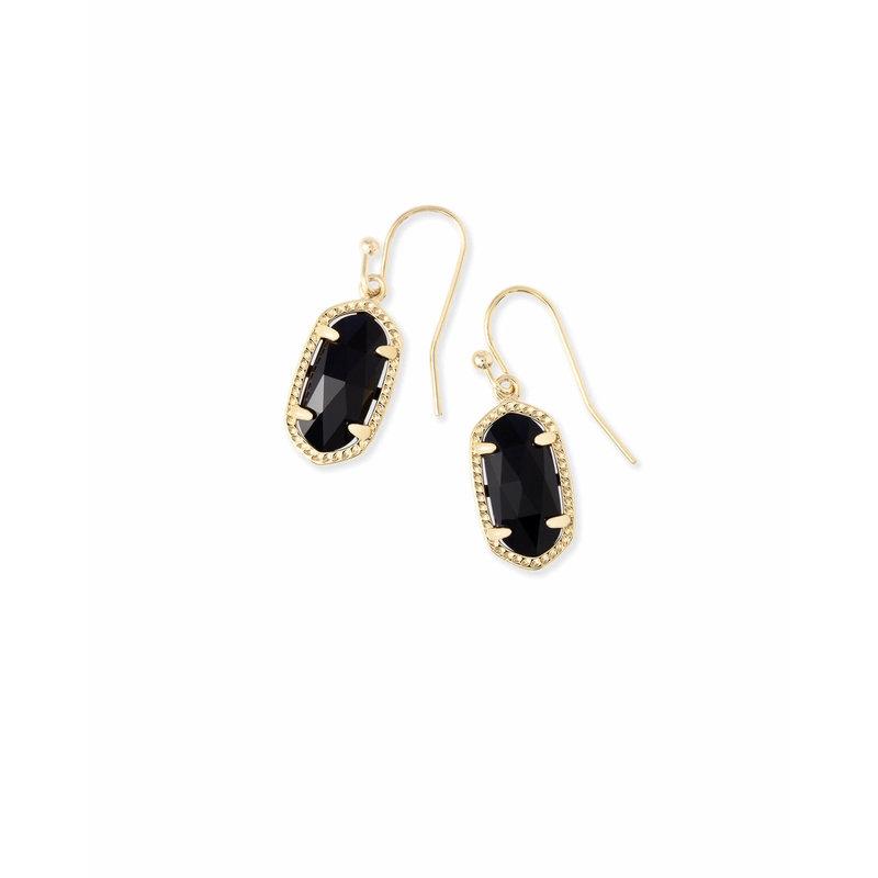 Kendra Scott Lee Gold Drop Earrings In Black Opaque Glass