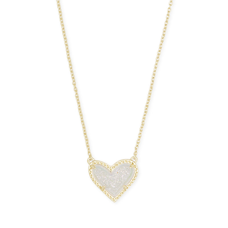 Kendra Scott Ari Heart Gold Short Pendant Necklace In Iridescent Drusy