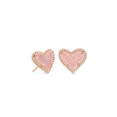 Kendra Scott Ari Heart Rose Gold Stud Earrings In Pink Drusy*