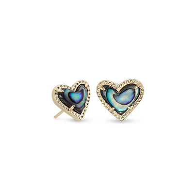 Kendra Scott Ari Heart Gold Stud Earrings In Abalone Shell