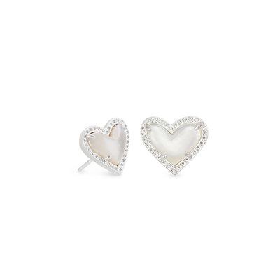 Kendra Scott Ari Heart Silver Stud Earrings In Ivory Mother-Of-Pearl