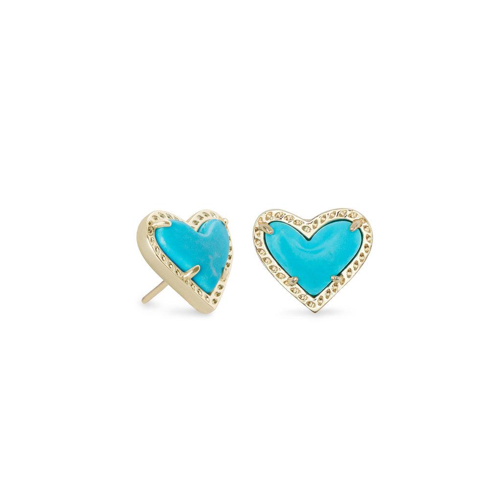 Kendra Scott Ari Heart Gold Stud Earrings In Turquoise Magnesite