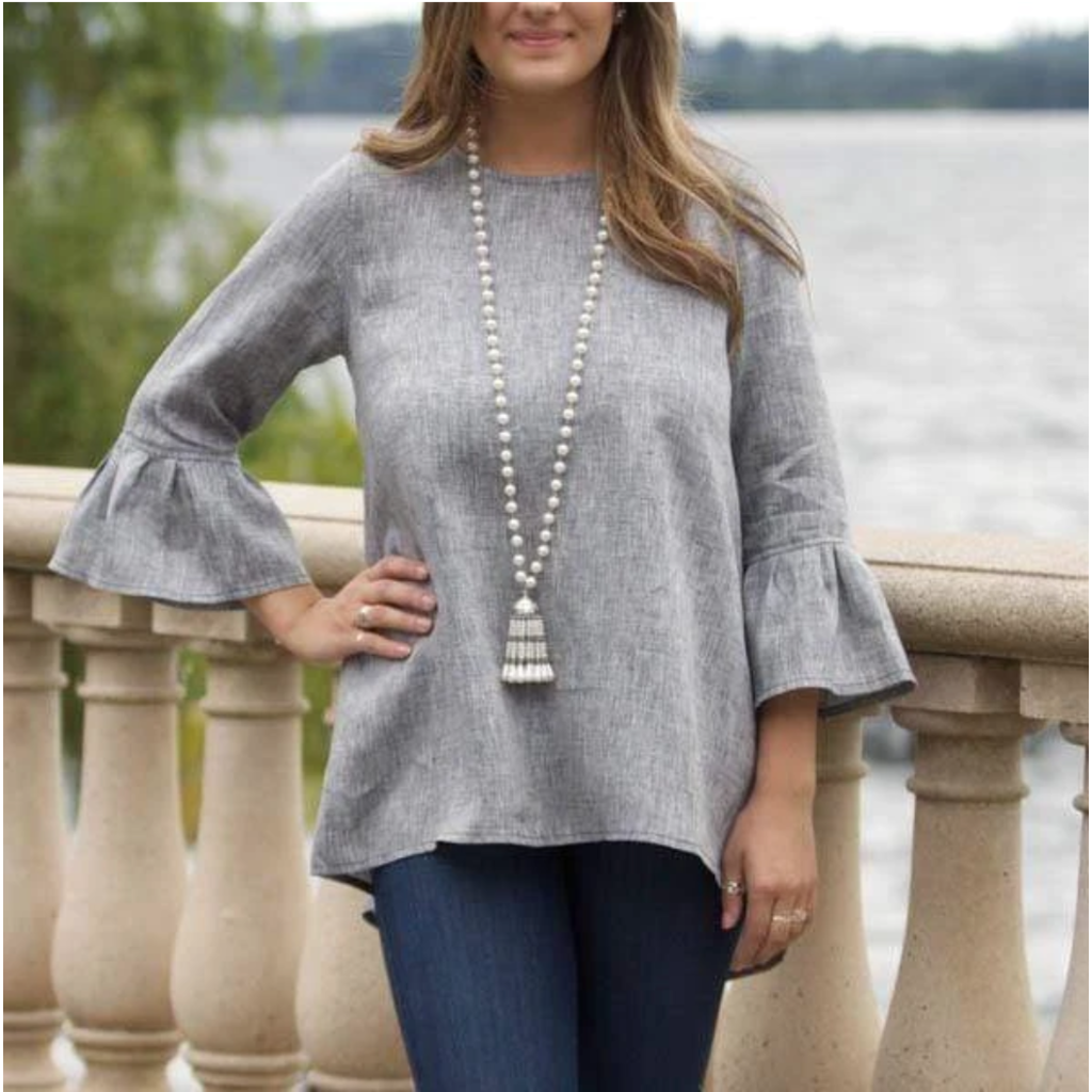Bee Boutique Bella Bell Sleeve Linen Top