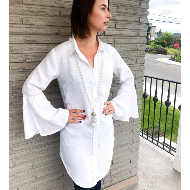 Bee Boutique Payton Linen Flare Sleeve Top