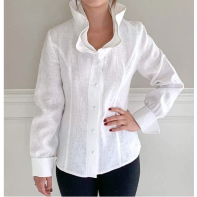 Bee Boutique Pippa Ruffle White Linen Top