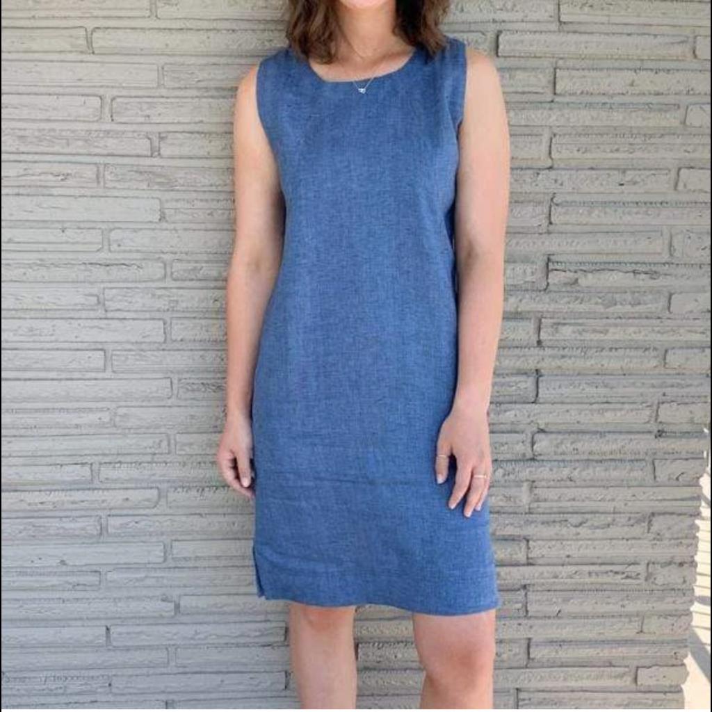 Bee Boutique Trina Linen French Blue Sheath Dress