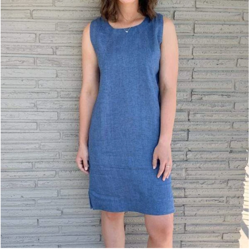 Bee Boutique Trina Linen French Blue Sheath Dress