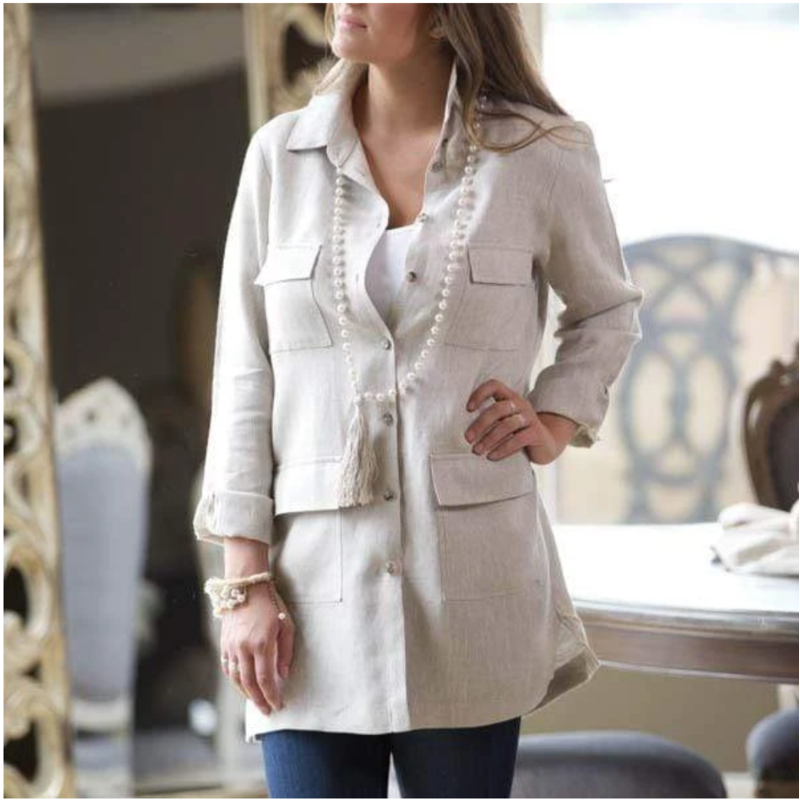 Bee Boutique Annie Linen Field Jacket