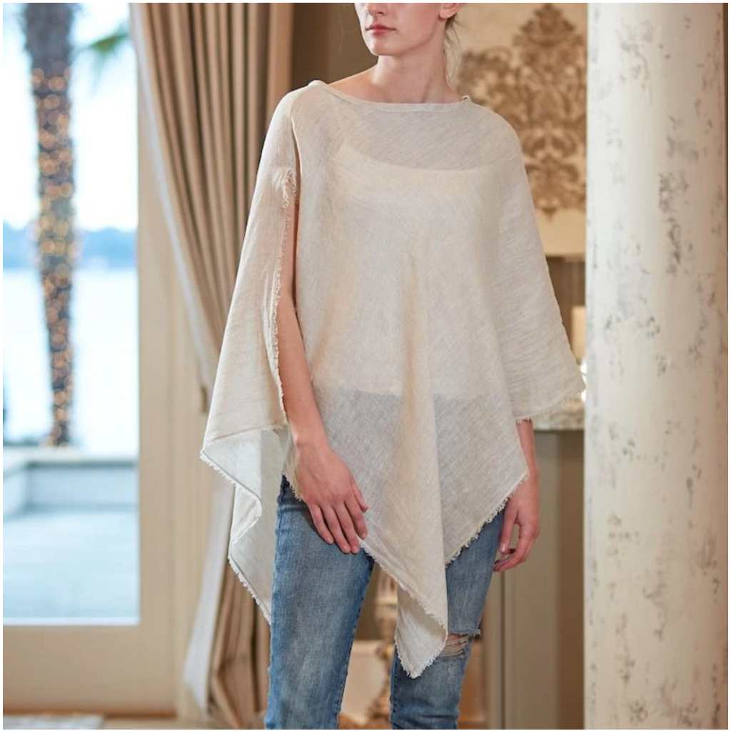 Bee Boutique Juliet Linen Poncho with Fringe