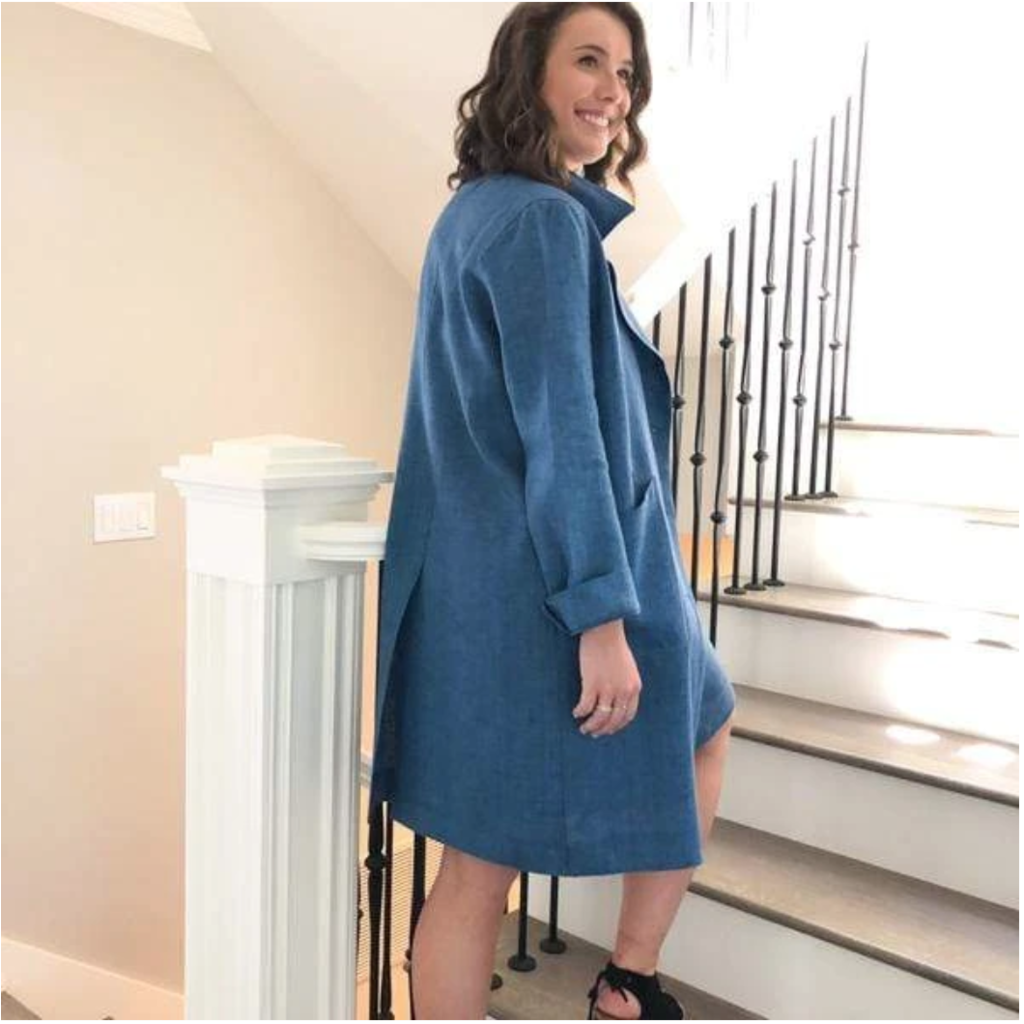 Bee Boutique Tessa Linen French Blue Trench Coat