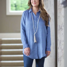 Bee Boutique Christina Long Linen Shirt