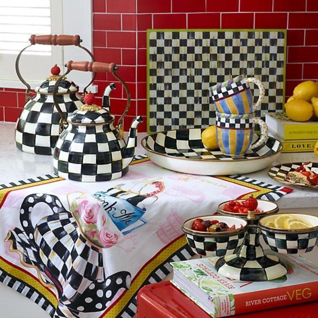 MacKenzie-Childs Courtly Check Enamel Tea Kettle - 2 Quart