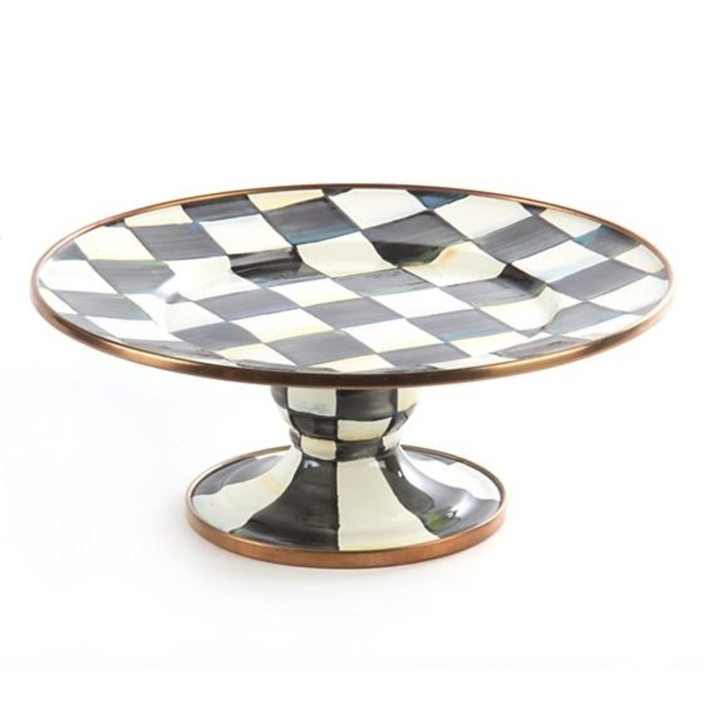 MacKenzie-Childs Courtly Check Enamel Pedestal Platter - Mini