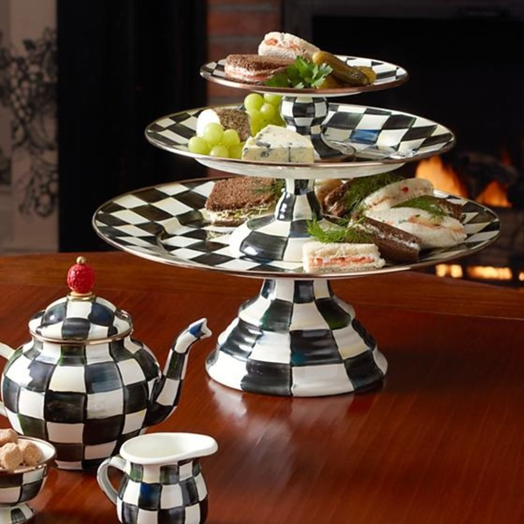 MacKenzie-Childs Courtly Check Enamel Pedestal Platter - Small