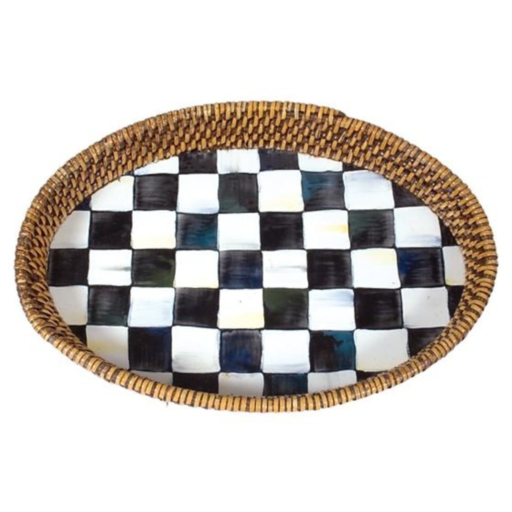 MacKenzie-Childs Courtly Check Rattan & Enamel Tray - Small